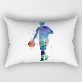 young man basketball player dribbling  Rectangular Pillow