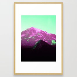 Green Air Vaporwave Mountains in Magenta, Washington Framed Art Print