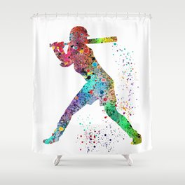 Baseball Softball Player Sports Art Print Watercolor Print Girl's softball Shower Curtain