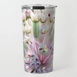Astrantia, closeup floral photo of pink flower Travel Mug