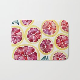 Sliced Grapefruits Watercolor Bath Mat