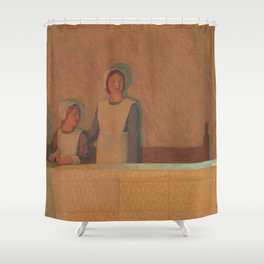 Frederick Cayley Robinson - 3 Orphans (2 girls and a cat) 1915 Shower Curtain