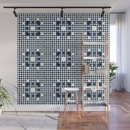 ARCHITECT steel blue, black, white check graph pattern design Wall Mural