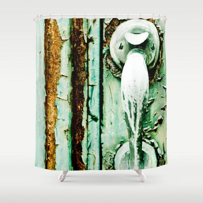 Green Door Handle, Peeling Turquoise Paint, Rusty Door Shower Curtain