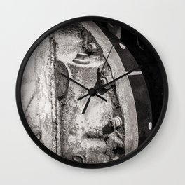 Machine Cog Abstract in Grey Dust Wall Clock