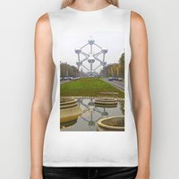 brussels Biker Tanks featuring Atomium Brussels Painted Photography by Premium