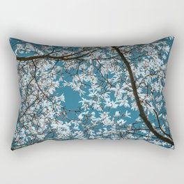 Beautiful white flowers all over the trees with clear blue sky in the background Rectangular Pillow