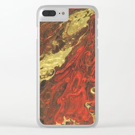 Golden Waves, abstract pouring acrylic Clear iPhone Case
