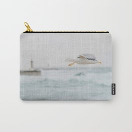 Flight - Minimal Ocean Print - Light House - Beach - Seagull - Sea Photography by Ingrid Beddoes  Carry-All Pouch