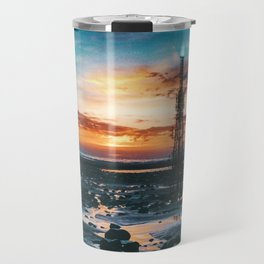 Beacons: Towers crowned by Flames on a Sunrise Beach Travel Mug