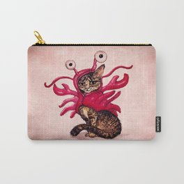 """""""Ma'ama Lisa"""" by Amber Marine ~ Lobster Cat, Watercolor and Ink, (c) 2015 Carry-All Pouch"""