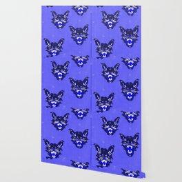 Blue Halloween Black Cats Wallpaper