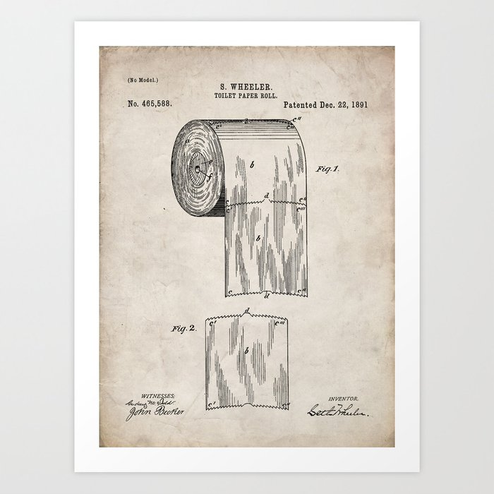 Toilet Paper Patent - Bathroom Art - Antique Kunstdrucke