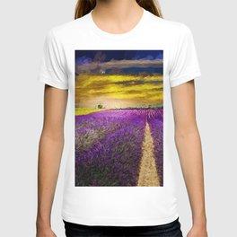 Lavender Fields Under a Golden Sunset Twilight landscape painting T-shirt