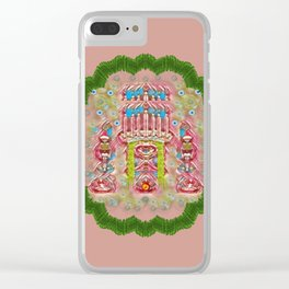 Sankta Lucia with friends light and floral santa skulls Clear iPhone Case