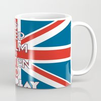 "coldplay Mugs featuring ""Keep Calm and Listen to Coldplay""-Union Jack by Fabfari"