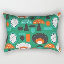 Funny mushrooms in green Rectangular Pillow