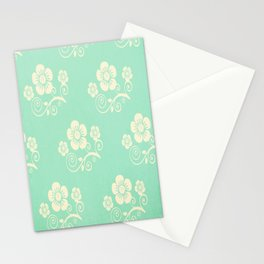 Plein Air Green Floral Pattern Design Stationery Cards