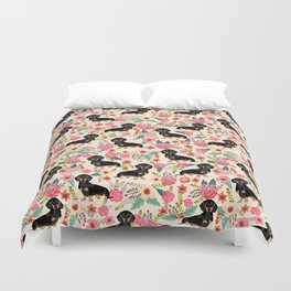 Doxie Florals - vintage doxie and florals gifts for dog lovers, dachshund decor, black and tan doxie Duvet Cover