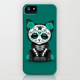 Cute Teal Blue Day of the Dead Kitten Cat iPhone Case