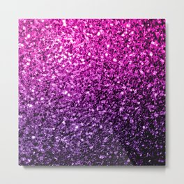 Purple Pink Ombre glitter sparkles Metal Print