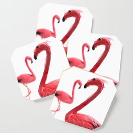 Pink Flamingos with Heart Coaster