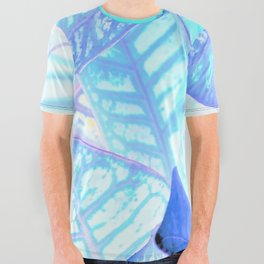 Blue Croton Tropical Leaves All Over Graphic Tee
