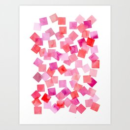 pink and red watercolour squares Art Print