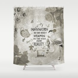 Imagination - Vintage Black & White - Alice In Wonderland Shower Curtain