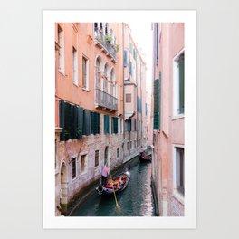 Venice Gondola Rides in Pink Art Print
