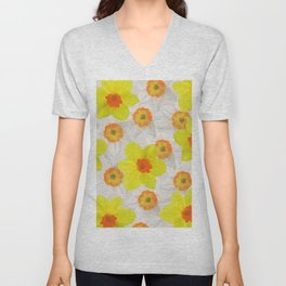 Daffodils blossoms Flowers yellow and white Unisex V-Neck