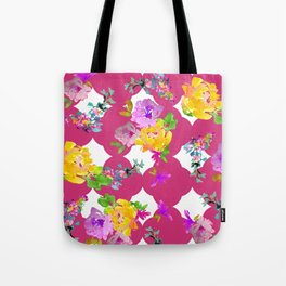 Bright florals with Pink Yarrow Tote Bag