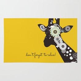 Funky Cool Funny Giraffe Yellow Rug