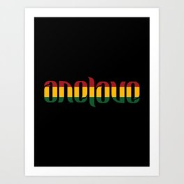 One Love Ambigram  Art Print