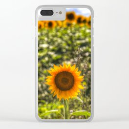 The Lonesome Sunflower Clear iPhone Case