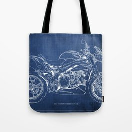 Motorcycle blueprint, white and blue art Tote Bag