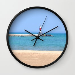 LIGHTHOUSE ON LAKE MICHIGAN Wall Clock