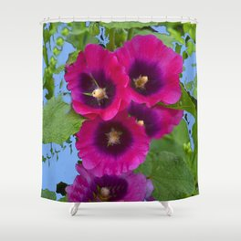 FUCHSIA PURPLE ENGLISH HOLLYHOCKS Shower Curtain
