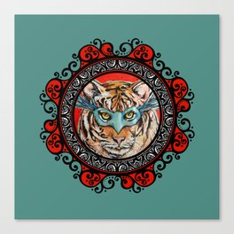 Masquerade Bengal Tiger Mandala Canvas Print