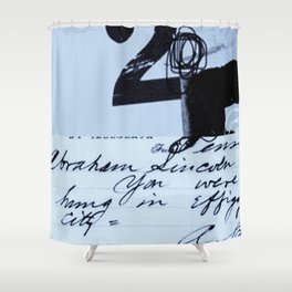hung in effigy city blue Shower Curtain
