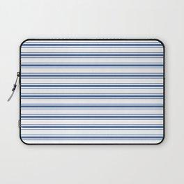 Mattress Ticking Wide Horizontal Stripe in Dark Blue and White Laptop Sleeve