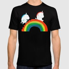 Unicorn on rainbow slide X-LARGE Mens Fitted Tee Black