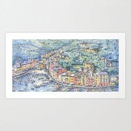 Portofino dal mare Art Print