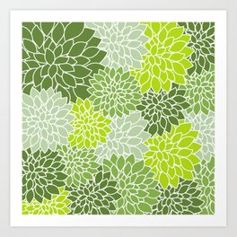 Dahlia Flowers, Petals, Blossoms - Green White Art Print