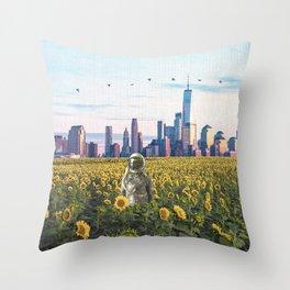 Astronaut in the Field-New York City Skyline Throw Pillow