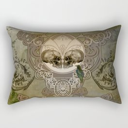 Awesome skulls with crow Rectangular Pillow