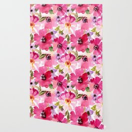 Watercolor Flowers Pink Fuchsia Wallpaper