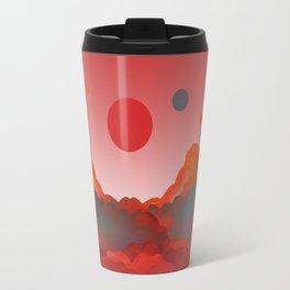 """""""Coral Pink Sci-Fi Mountains"""" Travel Mug"""