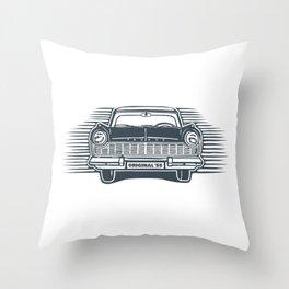 Old '55 Digital Linocut Style (PMS 3873-Dk Blue) Throw Pillow