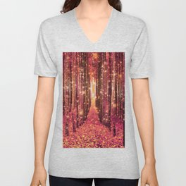 Magical Forest Pink Peach Unisex V-Neck